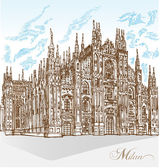 Milan cathedral hand draw — Stock Vector
