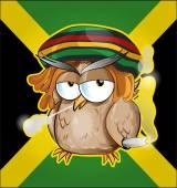 Rastafarian owl cartoon on jamaican flag — Stock Vector