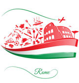 Rome colosseum with food element on italian flag  — Stock Vector