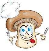 Mushroom chef cartoon isolated on white background — Stock Vector