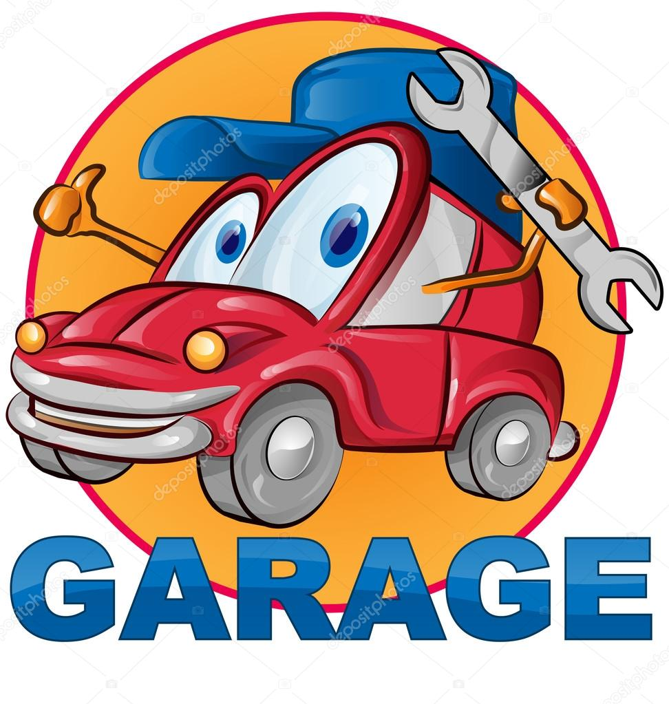Caricature de symbole pour le garage voiture image for Budget pour ouvrir un garage auto