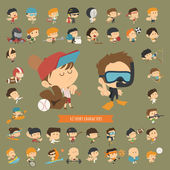 Set of 42 Sport characters — Stockvektor