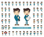 Set of businessman character — Stock Vector