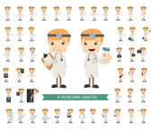 Set of doctor characters poses — 图库矢量图片