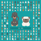 Set of dog character  — Stock Vector