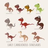 Set of Early carnivorous dinosaurs — Stock Vector