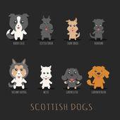 Set of scottish dogs — Stock Vector