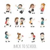 Back to school , pupils in school uniform — Stock Vector