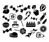 Sweets, fruits and cakes — Stock Vector