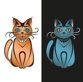 Vector cats, both isolated — Vetor de Stock