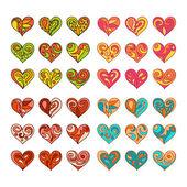 Set of vector hand drawn cute hearts  — Stock Vector