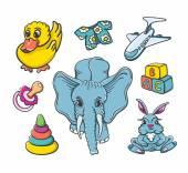 Baby cartoon toys set — Stock Vector