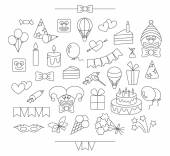 Linear party icons. Editable, isolated. — Stock Vector