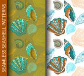 Seamless seashell patterns — Stockvektor