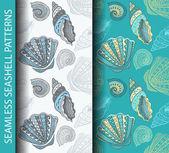 Σχέδια απρόσκοπτη θαλασσινών κοχυλιών — Διανυσματικό Αρχείο