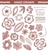 Set of hand drawn floral elements — Stock Vector