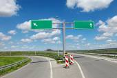 Highway crossroad and signs — Stock Photo