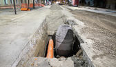 Construction site, sewerage in city — Stock Photo