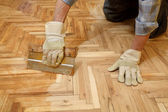 Home renovation, parquet finishing — Stock Photo