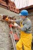 Construction site, old building demolishing — Stock Photo