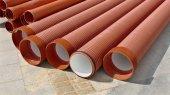Construction site, heap of PVC tubes — Stock Photo