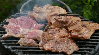 Meat grilling, barbecue — Stock Video