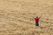 Agricultural scene, happy farmer in wheat field — Stock Photo