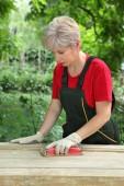 Female worker restoring old wooden door — Stock Photo