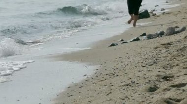 Girl running at beach — Stock Video