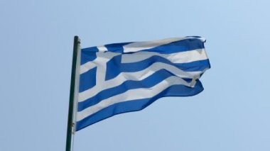 Greece flag flying over blue sky, HD footage — Stock Video