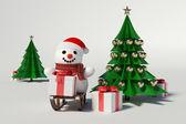 雪人和圣诞树 — 图库照片