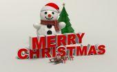 Buon Natale testo 3d, pupazzo di neve, slage e regalo ad alta risoluzione — Foto Stock