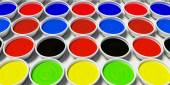 Paint buckets with colored paint  — Foto Stock
