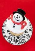 Snowman Cupcake — Stock Photo