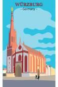Church in Wurzburg, Germany — Stock Vector