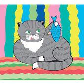 Katt med fisk — Stockvektor