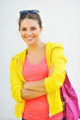 Outdoor portrait of colorful clothes fashion girl on white backg — ストック写真