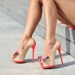Woman legs wearing high heels. Outdoor fashion shoot — Stock Photo #52991179