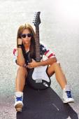 Girl with guitar  — Foto de Stock