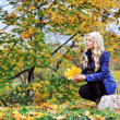 Beautiful elegant woman sitting with leafs in a park in autumn — Stock Photo #56122823