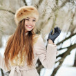 Attractive young winter woman - outdoor portrait — Stockfoto #56624973
