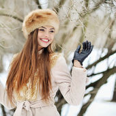 Attractive young winter woman - outdoor portrait — Stock Photo