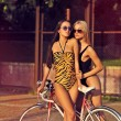 Two attractive girls with bicycles outdoor — Stock Photo #57269629