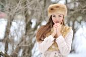 Beautiful girl in winter  — Stock Photo