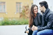 Young flirting couple in love outdoor  — Stock Photo