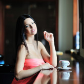 Beautiful lovely woman with a cup of coffee — Foto de Stock