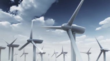 3d animation of wind turbines on sky background — Stock Video