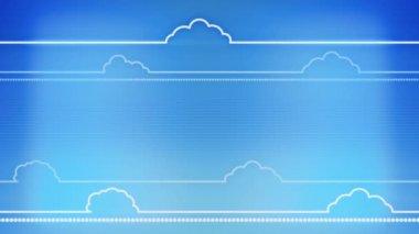 Clouds stylized flat animation on blue background — Stock Video
