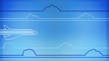 Clouds line stylized and plane animation on blue background — Stock Video