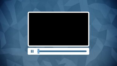 Video player interface animation on blue background — Stock Video